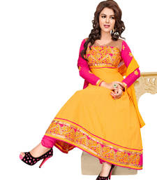 Yellow Color Party Wear Embroidered Cotton Semi-Stitched Anarkali shop online
