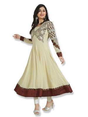 Anarkali Off White Colour Faux Georgette Anarkali Salwar Kameez By Fabfiza