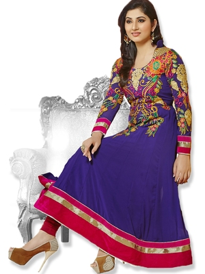 Anarkali Purple Faux Georgette Anarkali Salwar Kameez By Fabfiza