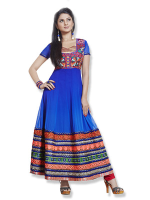 Blue Colour Faux Georgette Anarkali Salwar Kameez By fabfiza