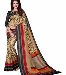 Buy Beige printed Mysore Jute and Cotton Linen Blend Silk saree with blouse printed-saree online
