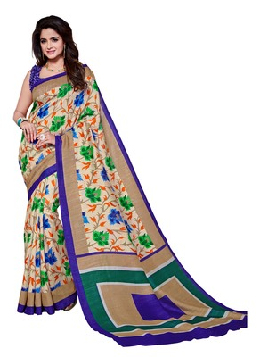 Beige printed Mysore Jute and Cotton Linen Blend Silk saree with blouse