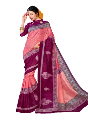 Pink printed Mysore Jute and Cotton Linen Blend Silk saree with blouse