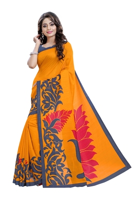 Orange printed Mysore Jute and Cotton Linen Blend Silk saree with blouse
