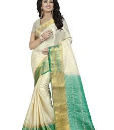 Buy White hand woven silk saree with blouse banarasi-saree online