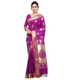 Buy Purple printed kanchipuram silk saree with blouse reception-ceremony-dress online