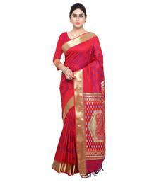 Buy Red printed kanchipuram silk saree with blouse pongal-dhoti-saree online