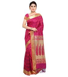 Buy Purple printed kanchipuram silk saree with blouse kanchipuram-silk-saree online