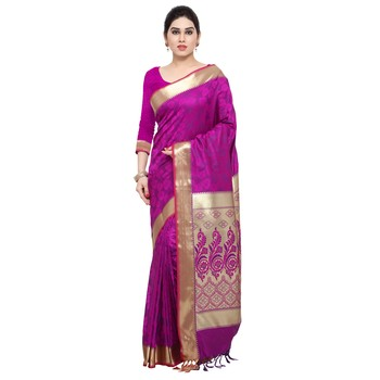 Purple printed kanchipuram silk saree with blouse