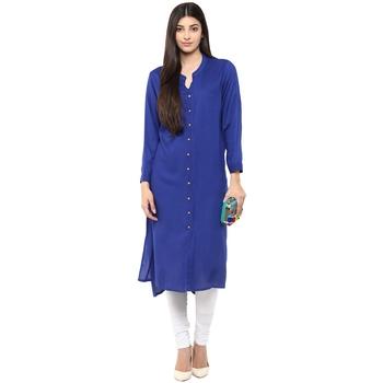 blue plain rayon stitched kurti