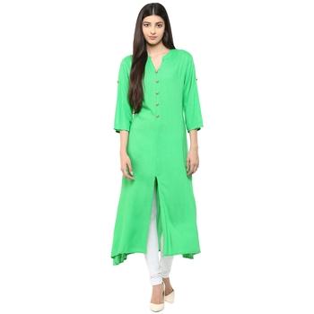 green plain rayon stitched kurti