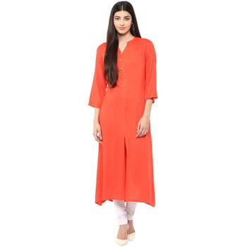 RIDAN Orange plain rayon stitched kurti
