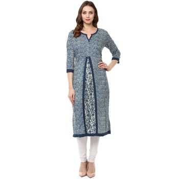 indigo printed cotton stitched kurti