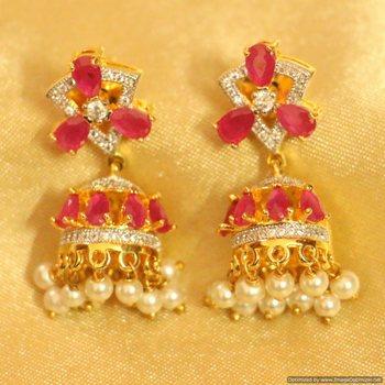 Ruby Diamond Look Fine Pearl Earrings
