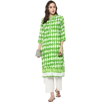 green white printed cotton stitched kurti
