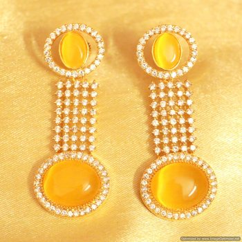 Yellow Onyx Cz Studded Danglers