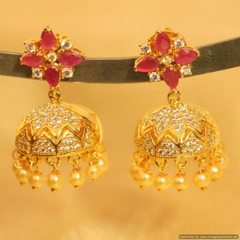 Ruby Diamond Look Gold Plated Jhumki
