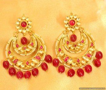 Kundan & Pearl Chaand Baali Ruby Danglers