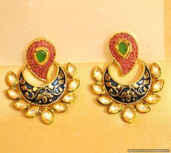Kundan Polki Meenakari Paisley Pattern Earrings