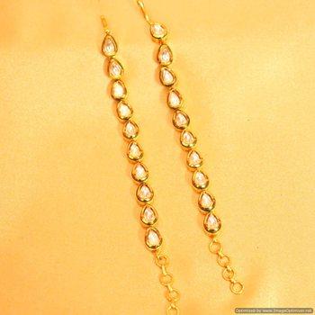 Kundan Meenakari Pear Shaped Ear Chains