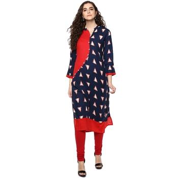 blue red  printed cotton stitched kurti