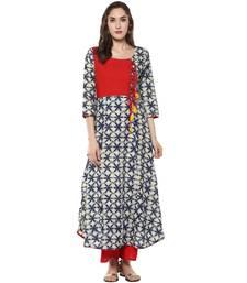 Ridan Women Red Blue Printed Rayon Long Stitched kurti