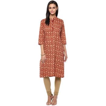 Ridan Women brown printed cotton stitched kurti