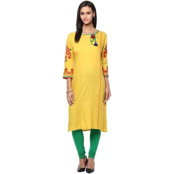 yellow plain rayon stitched kurti