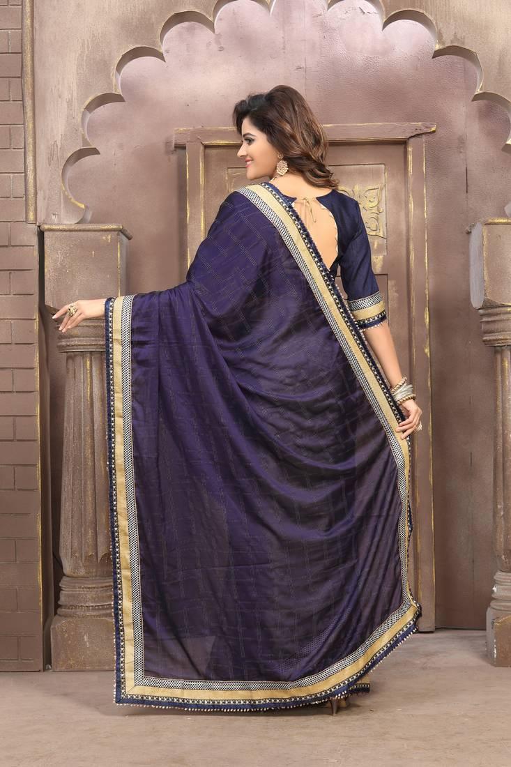 Buy Silver Plain Silk Saree With Blouse Online Kemeja Lavender Contrast Multicolor Shop At Velvet