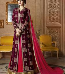 Buy Wine embroidered silk salwar dress-material online