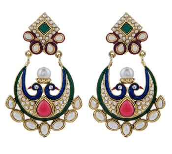 gold plated pearl red green chaand bali peacock mayur earring