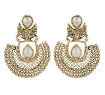 gold plated pearl chaand bali antique traditional earring