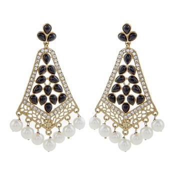 gold plated pearl black stone CZ filigree long chandelier earring