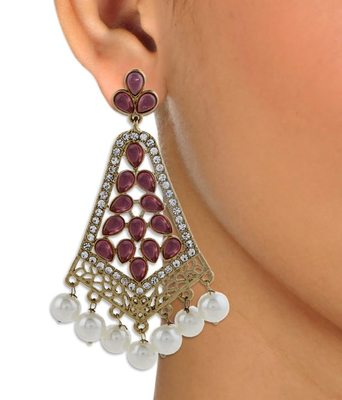 gold plated pearl pink stone CZ filigree long chandelier earring