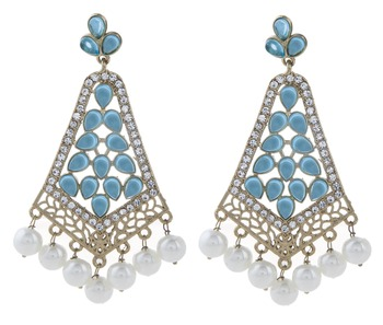 gold plated light blue stone CZ filigree long chandelier earring