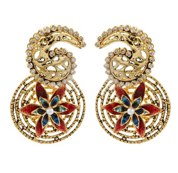 gold plated 3D flower meenakari CZ filigree paisley round earring