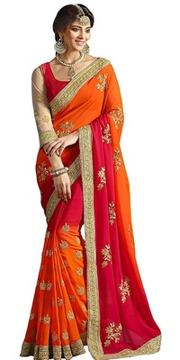 Orange And Red Colour Embroidered Chiffon  sequins_work saree With blouse piece