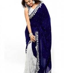 Buy Navy blue embroidered velvet saree with blouse velvet-saree online