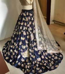 Buy Blue embroidered silk unstitched lehenga bridal-lehenga online