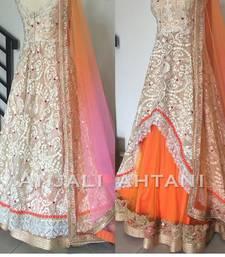 Buy Orange embroidered net unstitched lehenga bollywood-lehenga online