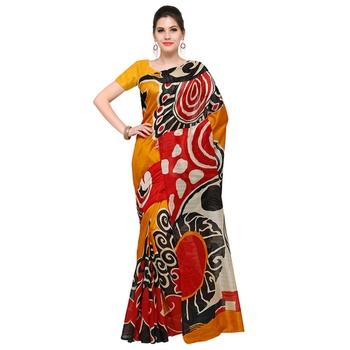 mustard printed bhagalpuri silk fashion bhagalpuri silk sarees with blouse