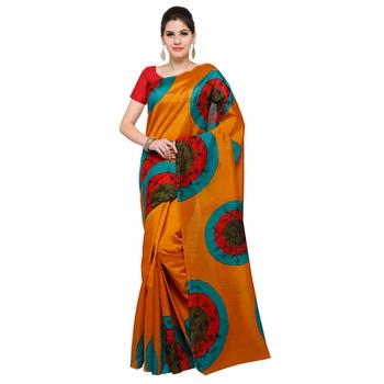 orange printed bhagalpuri silk fashion bhagalpuri silk sarees with blouse