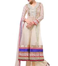 White embroidered net salwar