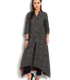 Buy indibelle blue cotton C-Cut Long kurta plus-size-kurtis online