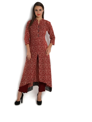 Indibelle Red cotton C-Cut Long kurta