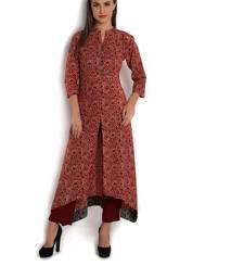 Buy indibelle blue cotton C-Cut Long kurta plus-size-kurtis online