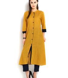 indibelle yellow solid cotton slub front cut kurta