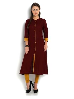 Indibelle maroon solid cotton slub front cut kurta