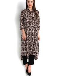 Buy indibelle coffee printed cotton straight kurta plus-size-kurtis online