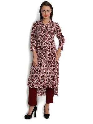 indibelle maroon printed cotton straight kurta